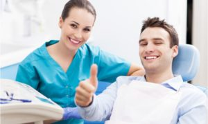 The patient suffers from dental bone loss due to gum disease.