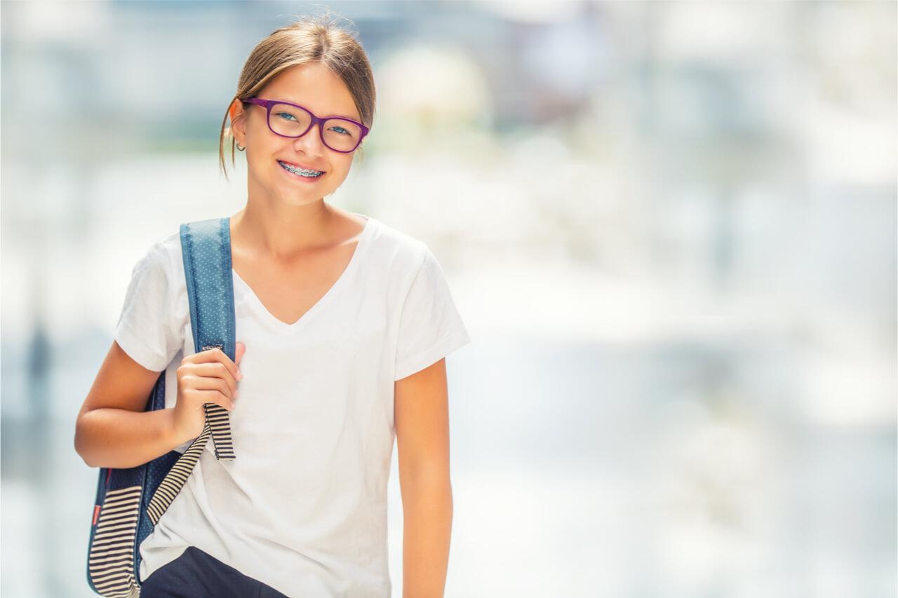 schoolgirl with braces