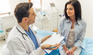 The patient visits her doctor annually.