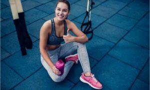 The woman exercises to improve her bone health.